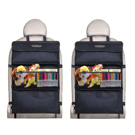 2Packs Back Seat Protector with 6 Pockets