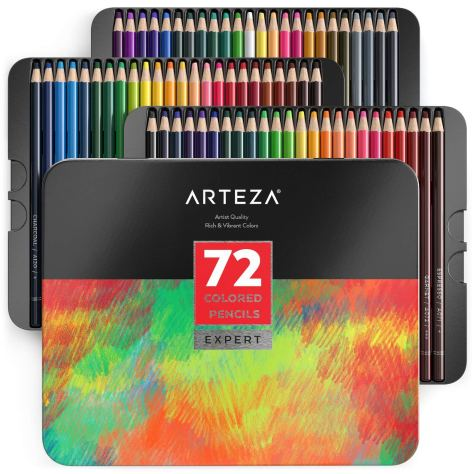 Colored Pencils, Professional Set of 72 Colors, Soft Wax-Based Cores.jpg