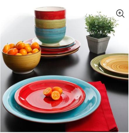 Festival Dinnerware, Assorted Colors, Set of 12