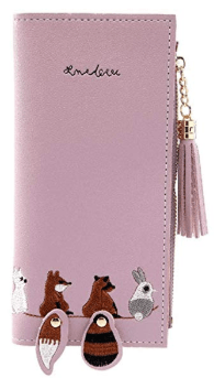 Women Cartoon Animal Embroidery Tassel Wallet 2