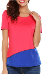 Women Casual O Neck Short Sleeve Color Block T-Shirt Top