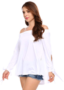 Women's Casual Elastic Slash Neck Tie Cuff Side Split Off The Shoulder Loose Top Blouse 1