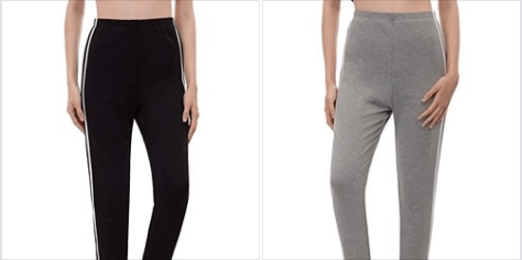 Women's Fashion Slim Fit Contrast Stripe Cropped Length Pants Capri Leggings.png