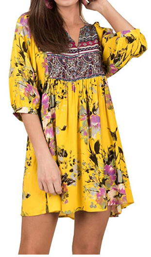 Amazon : **60% Off ** Women's Floral Dresses Boho V Neck 3/4 Sleeve Mini Dress Just $10.40 W/Code (Reg : $25.99) (As of 1/15/2019 10.03 AM CST)