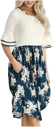 Women's Floral Print Ruffle Half Sleeves Pocket Fit and Flare Midi Dress