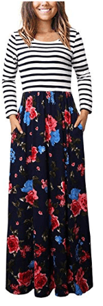 Women's Striped Floral Long Sleeve Tie Waist Maxi Dress with Pockets