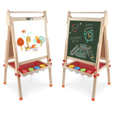 Wooden Art Easel Double-Sided Whiteboard & Chalkboard Adjustable Standing Easel with Paper Roll Holder for $43.99 w/code