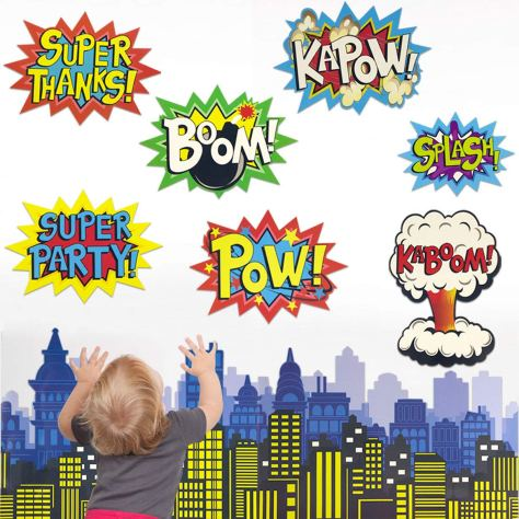 Deals Finders | Amazon : Large Superhero Action Signs Cutouts 12PCS