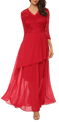 Amazon : Women's Retro V-Neck Floral Lace Long Wedding Bridesmaid Maxi Dress with Cascading Ruffles Just $10.49-$ 16.19 W/Code (Reg : $26.98) (As of 2/19/2019 1.54 PM CST)