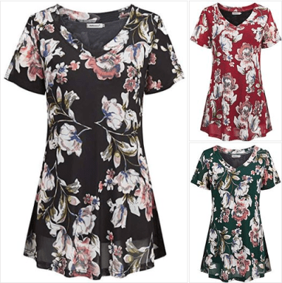 Amazon : Women's V Neck Short Sleeve Vintage Floral Printed Flowy Tunic Tops Just $6.90-8.10 W/Code (Reg : $26.99) (As of 2/22/2019 10.30 AM CST)