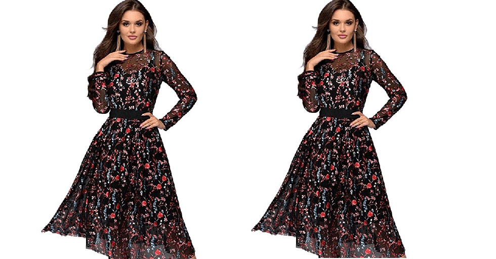 Amazon : Women Elegant O-Neck Long Sleeve Floral Two-Piece Set Dress Dresses Black Just $13.50 W/Code (Reg : $44.99) (As of 2/21/2019 2.47 PM CST)