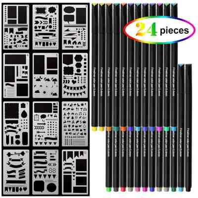 Amazon : 24 Colors 0.4mm Fine Line Drawing Pen and 12 PCS Stencils Plastic Planner Just $5.69 W/Code (Reg : $13.99) (As of 3/19/2019 8.26 PM CDT)