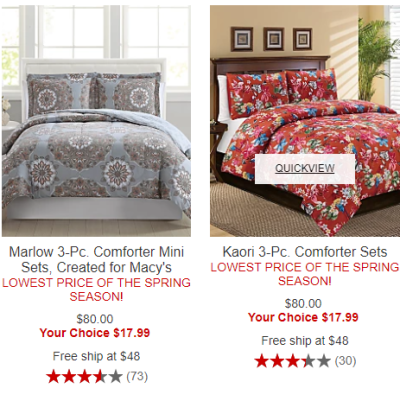 Macy's : 3PC Comforter Sets $17.99 (Reg : $80)