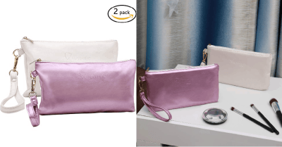 Amazon : Leather Makeup Bag for Traveling(Pack of 2) Just $4.99 W/Code (Reg : $9.99) (As of 3/24/2019 1.21 PM CDT)