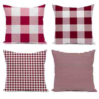 Amazon : Red and White Plaid Throw Pillows Cases Just $11.49 W/Code (Reg : $22.99) (As of 3/24/2019 4.41 PM CDT)