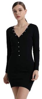 Amazon : Women's Deep V Dress Long Sleeve Bodycon Just $9.92 W/Code (Reg : $31.99) (As of 4/20/2019 5.02 PM CDT)