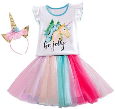 Amazon : 2PCS Unicorn Shirt Colorful Rainbow Tutu Skirt Just $13.88 W/Code (Reg : 34.70) (As of 4/23/2019 8.03 PM CDT)