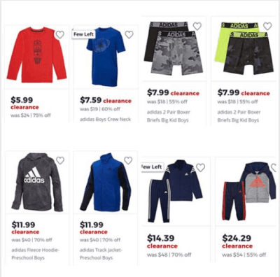 Jcpenney : 70% OFF Adidas Apparel Starting As low as $5.99!!