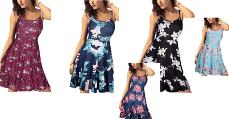 695fe0862605 Amazon   Women s Floral Print Sundress Adjustable Strappy Sleeveless Summer Swing  Dress Just  10.99 W Code (Reg    21.99) (As of 4 09 2019 10.48 AM CDT)