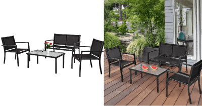 Amazon : 4 PCS Black with 2 Chairs Just $139.99 (As of 4/22/2019 10.39 AM CDT)