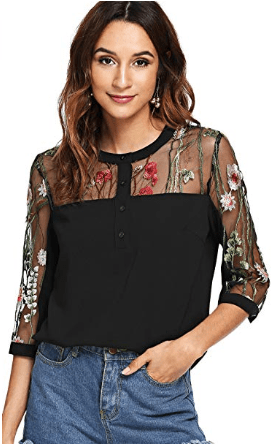 Amazon : Women's Floral Embroidered Mesh Sleeve Choker Neck Blouse Just $7 W/Code (Reg : $19.99) (As of 4/08/2019 9.30 PM CDT)