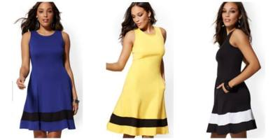 NY&C : Colorblock Fit and Flare Cotton Dress Just $14.99!