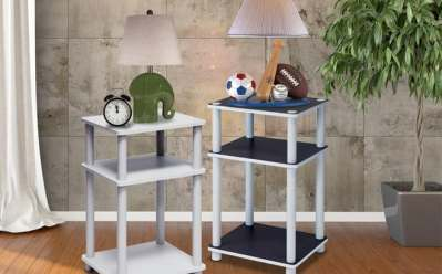 Walmart : 3-Tier No Tools Tube End Table, White with White Tube Just $16.11 (Reg : $22.25)