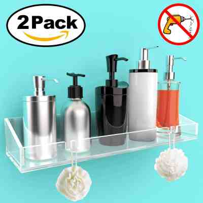 2 Pack - Bathroom Shelves, Wall Mounted Non-Drilling Thick Clear Storage & Display Shelvings for $12.49 (reg: $24.98)