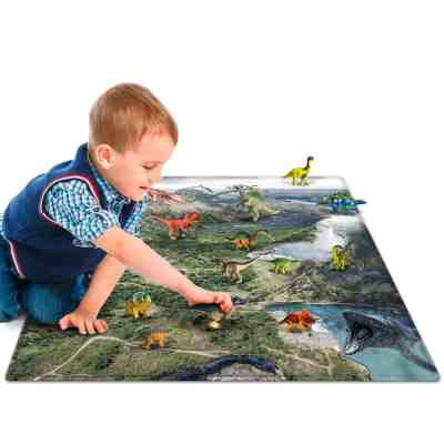 """Amazon : 18 Pieces Educational Realistic Dinosaur Figures and 28.5"""" x 28.5"""" Playmat Just $10.49 W/Code (Reg : $20.99) (As of 5/19/2019 6.28 PM CDT)"""
