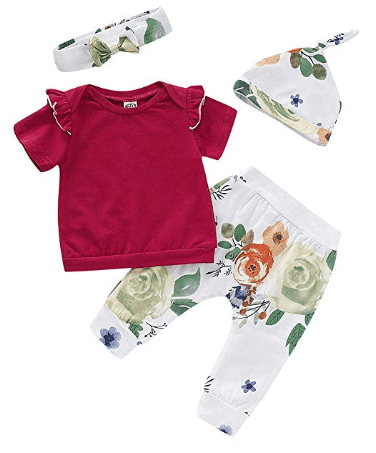 Amazon : Ruffle Tops+ Floral Pants+ Headband+ Hat Outfits 4Pcs/Set Just $6.49 W/Code (Reg : $12.99) (As of 5/20/2019 8.14 PM CDT)