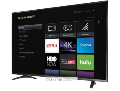 Sharp 55-Inch LED Smart 4K UHD Roku TV ONLY $299 + FREE Shipping (Reg $450)