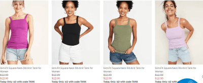 Old Navy : Women's, Girls & Toddler Tanks - Only $2 (Today Only)