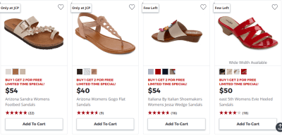 JCPenney : Buy 1 Get 2 FREE Women's Sandals & Flip Flops