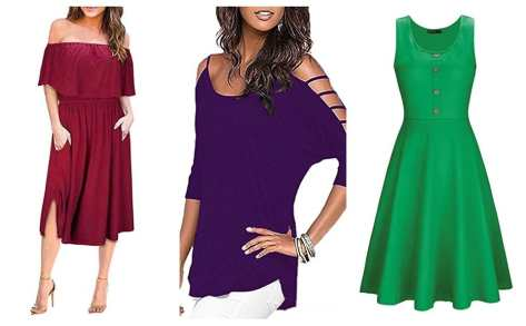 Womens Summer Ruffle Off Shoulder Casual Midi Dress Party Dresses from $6.40-$9.60 w/code
