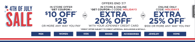 JCPenney : $10 Off a $25 Purchase Coupon (Ends 7/7)