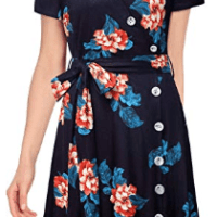 Amazon : Women Button Short Sleeve Floral Print V Neck A Line Dress with Belt Just AS LOW AS $5.50 W/Code (As of 7/22/2019 11.44 AM CDT)