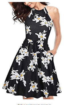Women Fashion Floral Halter Neck Sleeveless Summer Dress with Pockets Dresses for $12 w/code