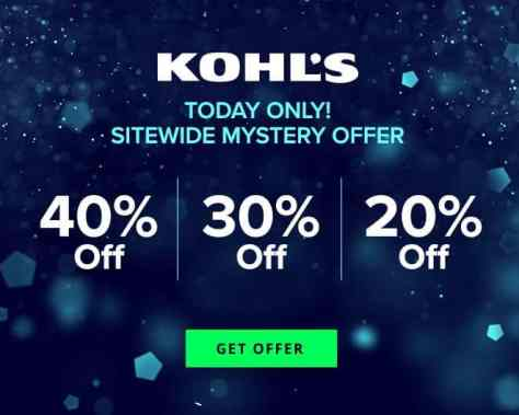 Kohl's: Up to 40% Off Mystery Savings Coupon (Check Email) – Today Only!