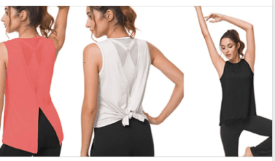 Women's Cute Yoga Workout Tank Tops Activewear Muscle Mesh Clothes for $9.79 w/code