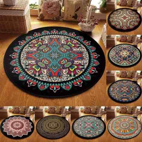 Non-Slip Machine Washable Round Rug Mandala Pattern Living Room Soft Carpet Floor Mat  for $9.48 w/code (reg: $31.60)