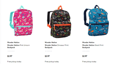 Walmart School Backpack for $2.97 & Free Store Pickup
