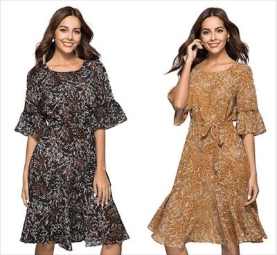 Amazon : Women's Boho Floral Bell Sleeve Casual Vintage Chiffon Midi Dress Just $19.99 W/Code (Reg : $39.99) (As of 8/25/2019 8.01 PM CDT)
