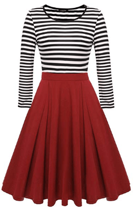 Amazon : Women's Vintage Stripes Patchwork Long Sleeve Swing Dress Just $10.83 - $12.74 W/Code (Reg : $21.66 - $25.49) (As of 8/23/2019 8.55 PM CDT)