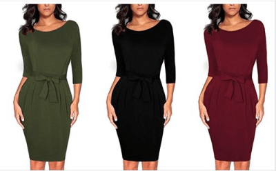 Amazon : Women's Elegant 2/3 Sleeve Wear to Work Casual Pencil Dress with Belt Just $14 W/Code (Reg : $34.99) (As of 8/24/2019 6.10 PM CDT)
