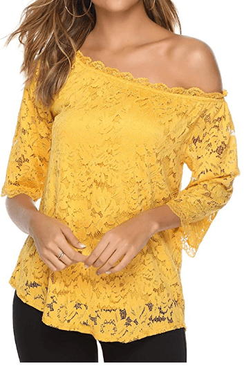Amazon : Women's Lace Off Shoulder Tops Just $8.81 W/Code + 5% Off Coupon (Reg : $26.99) (As of 8/24/2019 1.20 PM CDT)