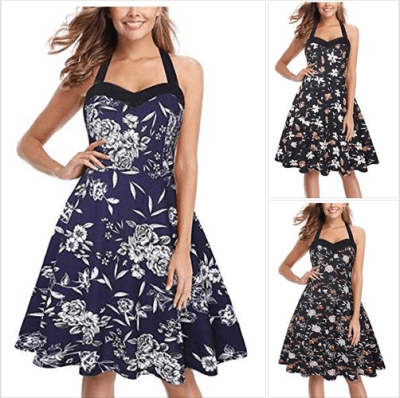Amazon : Women's Retro Halter Floral Bridesmaid Rockabilly Party Cocktail Swing Dress Just AS LOW AS $5.20 W/Code (Reg : $12.99-$24.99) (As of 8/24/2019 11 AM CDT)