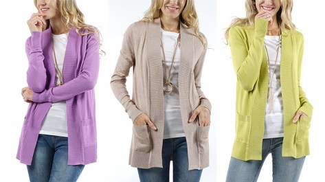 Women's Front-Pocket Open Cardigans for ONLY $15.99 at Zulily (Regularly $55)