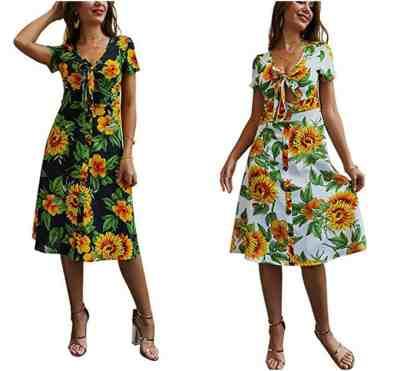 Womens Summer Boho Midi Dresses - Sunflower V Neck Short Sleeve Front Bow Tie Flared Dress for $10 w/code