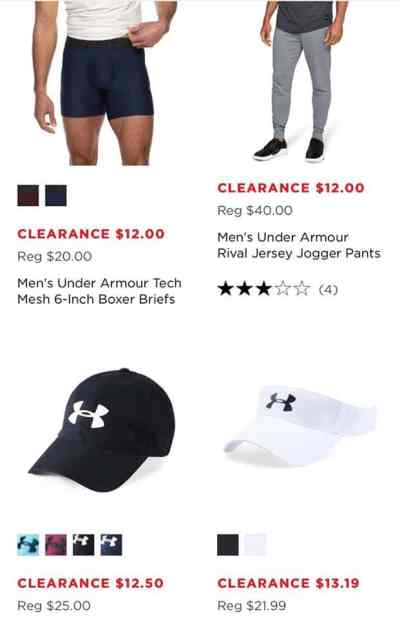 MEN'S UNDER ARMOUR APPAREL AS LOW AS $12.00