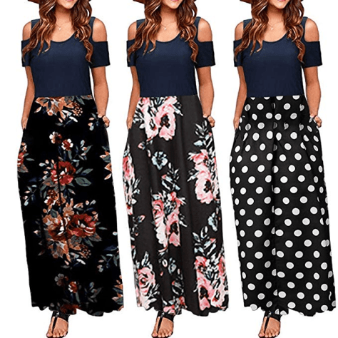 Women Summer Casual Short Sleeve O-Neck Patchwork Dress with Pockets Dresses for $13.95 w/code